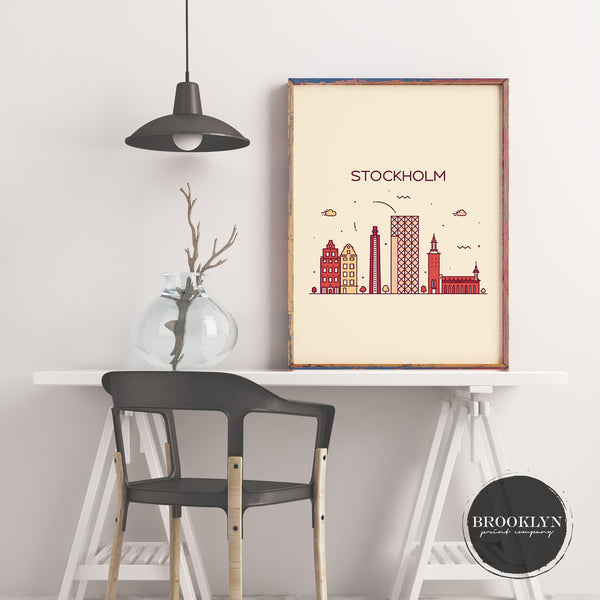 Stockholm Skyline Travel Poster Art Print - VIVIDEDITIONS