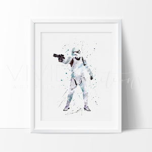 Storm Trooper Watercolor Art Print Art Print - VIVIDEDITIONS