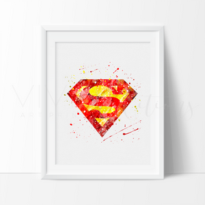Superman Logo Watercolor Art Print Art Print - VIVIDEDITIONS