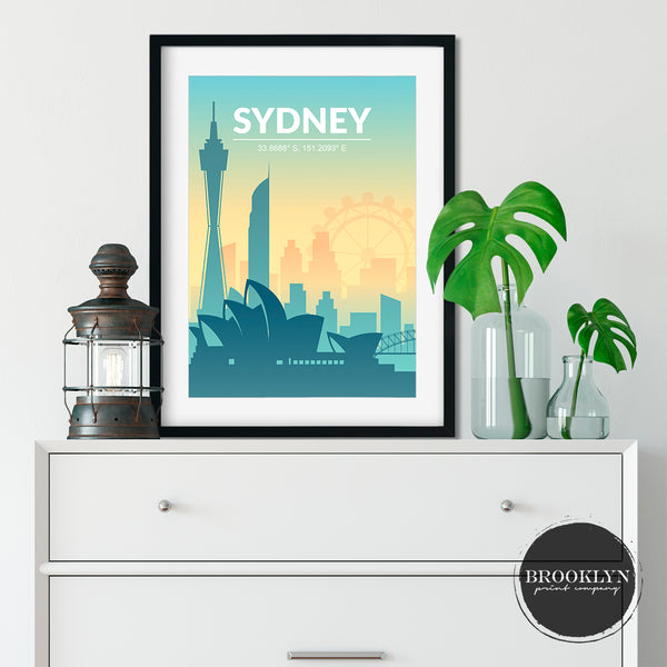 Sydney Skyline City Landmarks Travel Poster Art Print - VIVIDEDITIONS