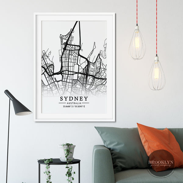 Sydney City Map Art Travel Poster Art Print - VIVIDEDITIONS