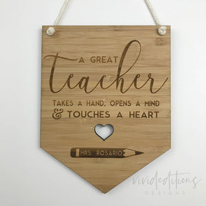 Personalized Teacher Appreciation Gift Bamboo Wall Plaque Art Print - VIVIDEDITIONS