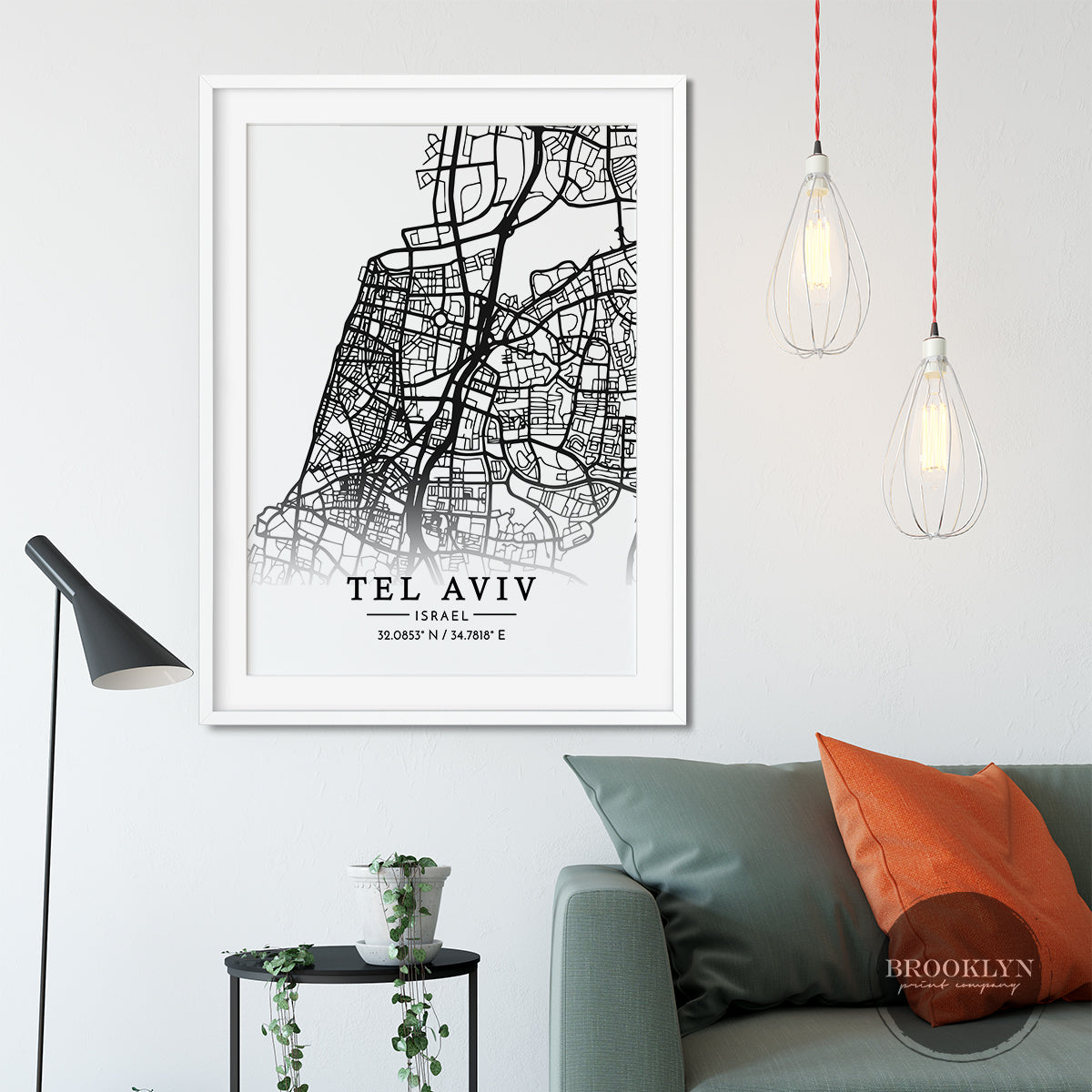 Tel Aviv City Map Travel Poster Art Print - VIVIDEDITIONS