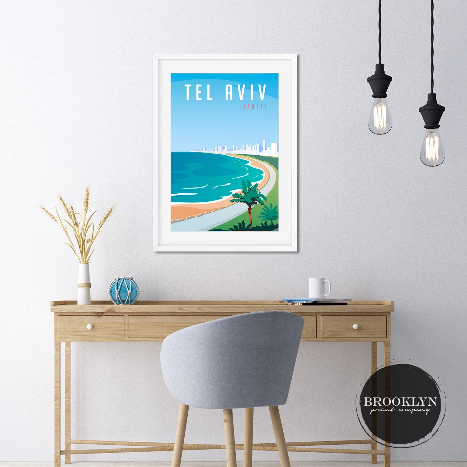 Tel Aviv City Skyline Travel Poster Art Print - VIVIDEDITIONS