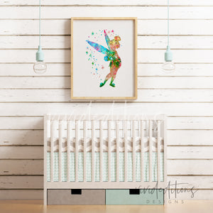 Tinkerbell Watercolor Art Print Art Print - VIVIDEDITIONS