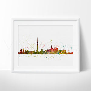 Toronto, Canada Skyline Cityscape Watercolor Art Print Wall Decor