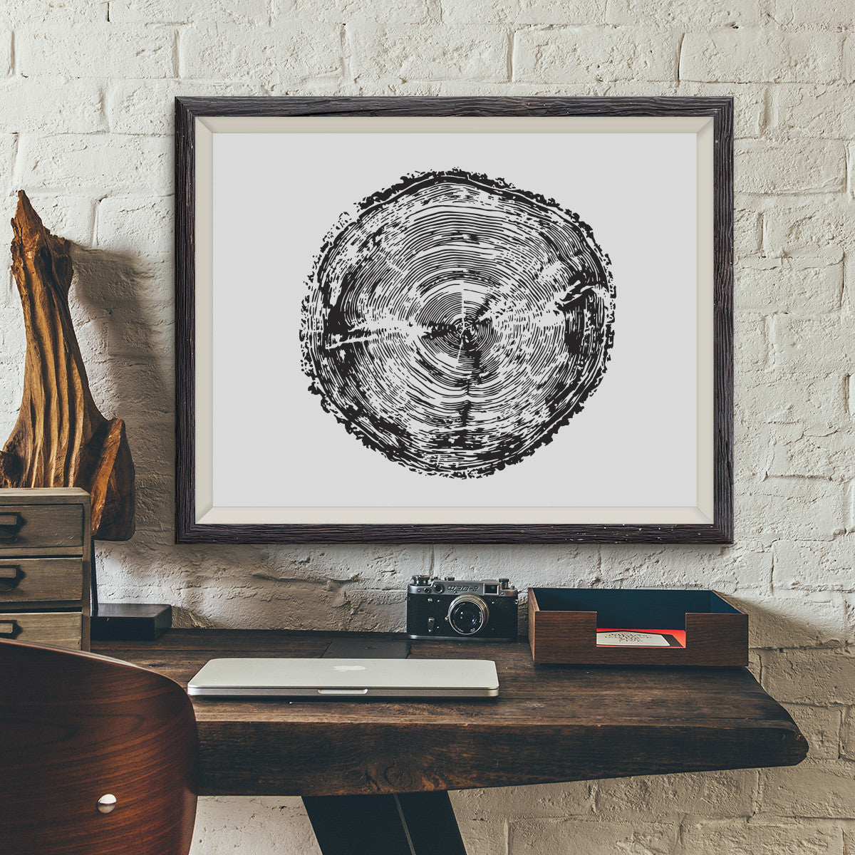 Tree Rings Vintage Dinosaur Illustration
