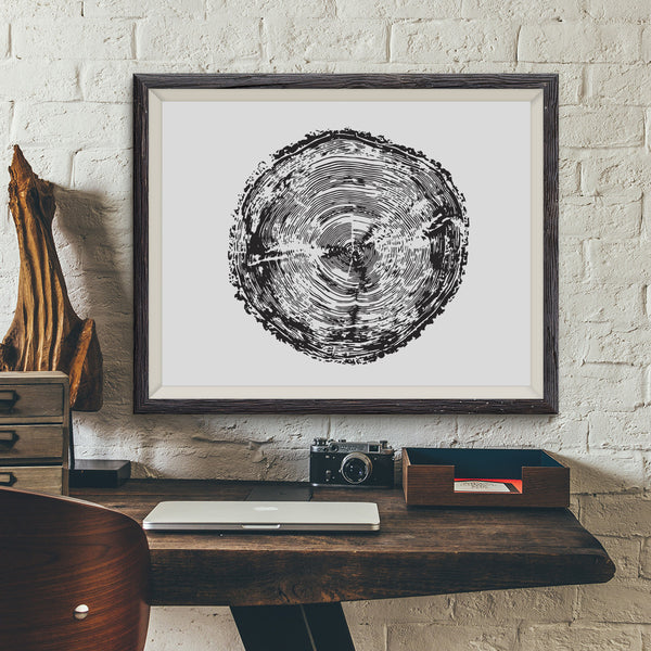 Tree Stump Rings Art Print Wall Decor