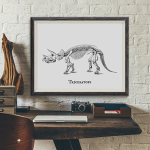 Triceratops Vintage Dinosaur Illustration Art Print - VIVIDEDITIONS