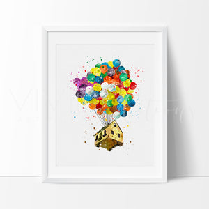 Up Balloon House Watercolor Art Print Art Print - VIVIDEDITIONS