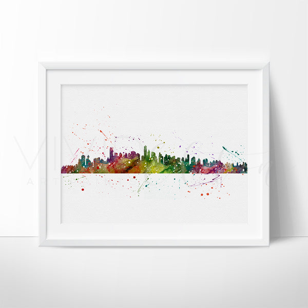 Vancouver, Canada Skyline Watercolor Art Print Art Print - VIVIDEDITIONS