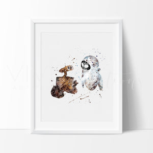 Wall-E & Eva Watercolor Art Print Art Print - VIVIDEDITIONS