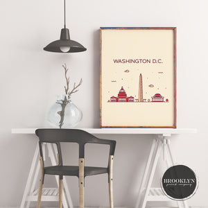Washington DC Skyline Travel Poster Art Print - VIVIDEDITIONS