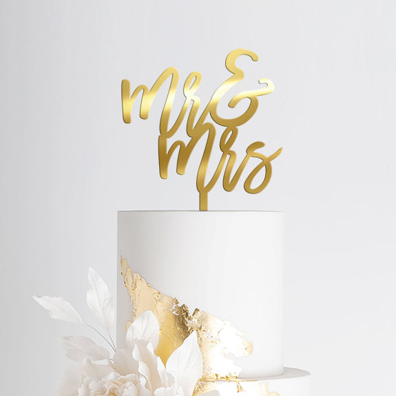 Wedding Cake Topper - Mr & Mrs Gold Mirror Acrylic