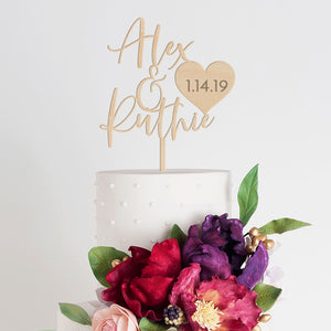 Personalized Wedding Cake Topper - First Names + Date - Wood