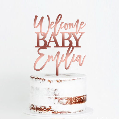 Baby shower cake topper, Welcome Baby Name. Rose Gold Gender Reveal Cake topper Sip and See cake topper.
