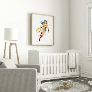 Wonder Woman Watercolor Art Print Art Print - VIVIDEDITIONS