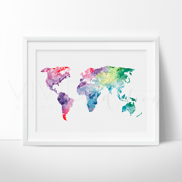 World Map 1 Watercolor Art Print Art Print - VIVIDEDITIONS