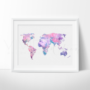 World Map 6 Watercolor Art Print Art Print - VIVIDEDITIONS