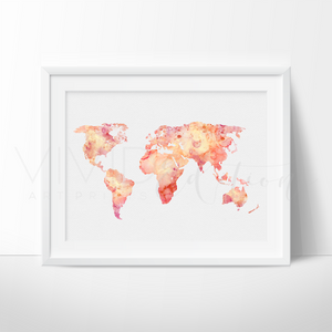 World Map 5 Watercolor Art Print Art Print - VIVIDEDITIONS