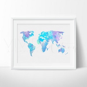 World Map 9 Watercolor Art Print Art Print - VIVIDEDITIONS