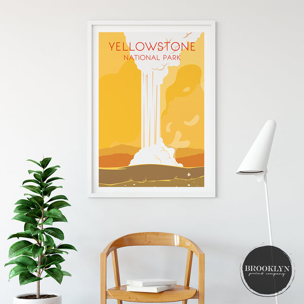 Yellowstone Park Landmark Art Travel Poster Art Print - VIVIDEDITIONS