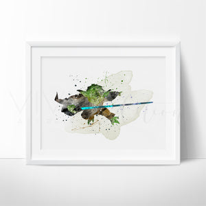 Yoda, Star Wars Watercolor Art Print Art Print - VIVIDEDITIONS