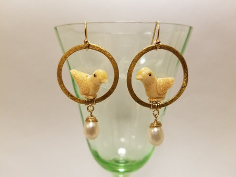 Bird Pearl earrings