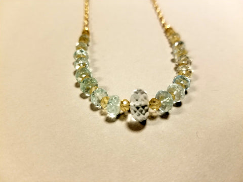 Aquamarine and Citrine Necklace