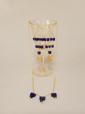 Lapis Geometric Dangle Necklace
