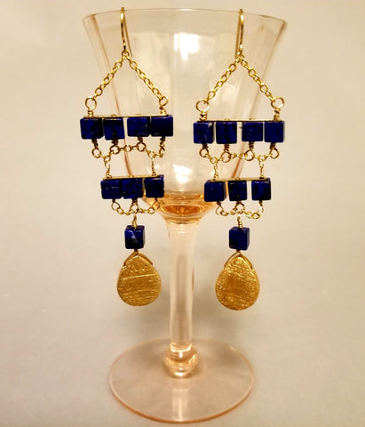 Lapis Geometric Dangle Earrings