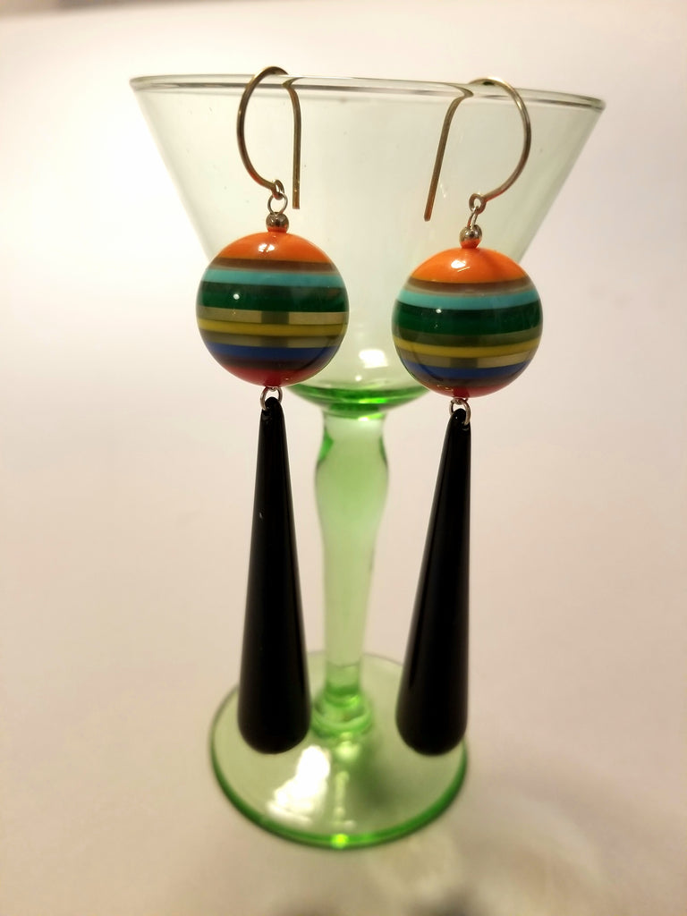 Playful Resin Bead Dangle Earrings