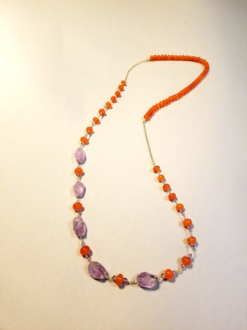 Amethyst and Carnelian Necklace