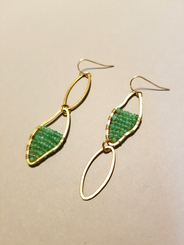 Asymmetrical Chrysoprase Earrings