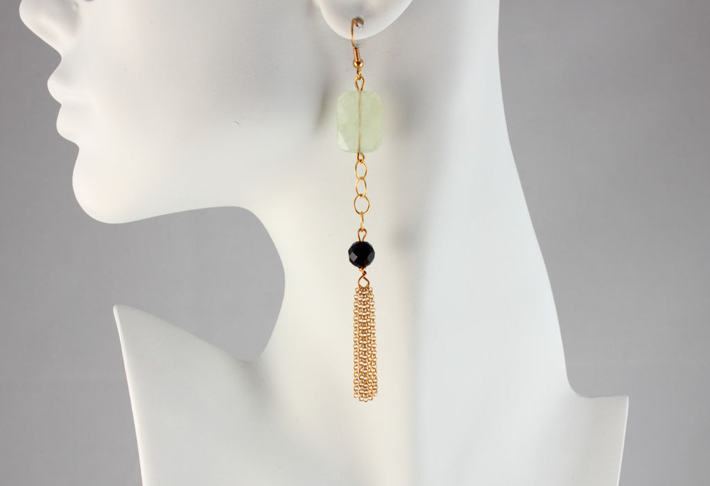 Serpentine and Obsidian Chain Earrings