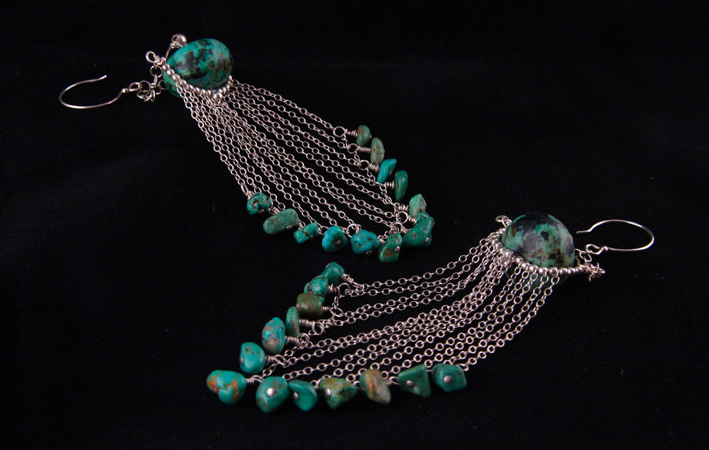 Dramatic Turquoise and Silver Earrings