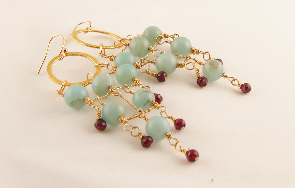 Amazonite Garnet and Gold Earrings