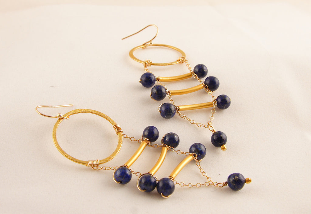 Lovely Lapis and Gold Earrings