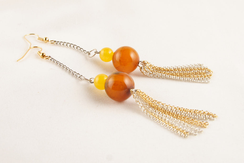 Agate and Yellow Jade Earrings with Tassels