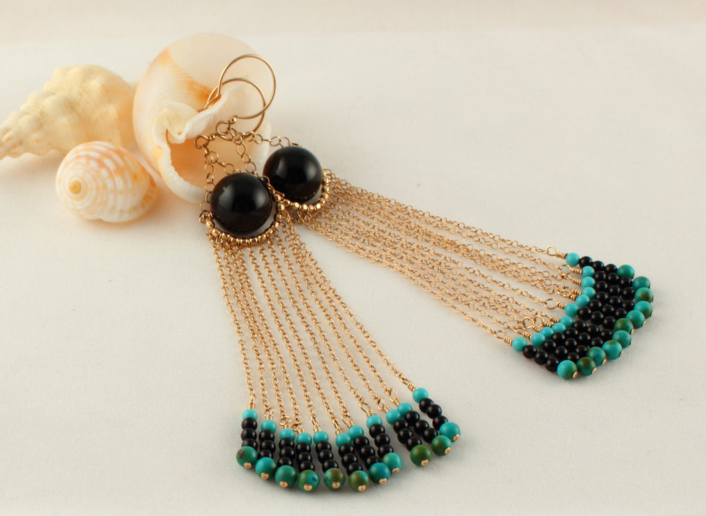 Elegant Onyx and Turquoise Earrings