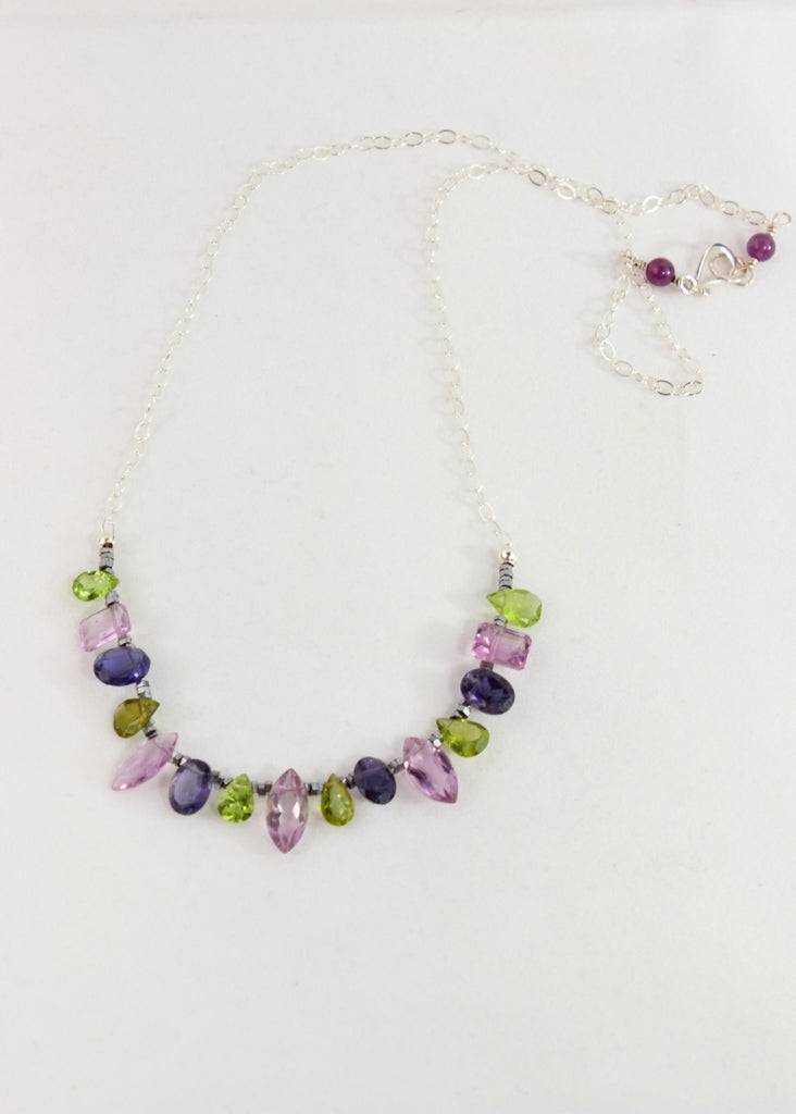 Iolite, Peridot, and Amethyst Necklace