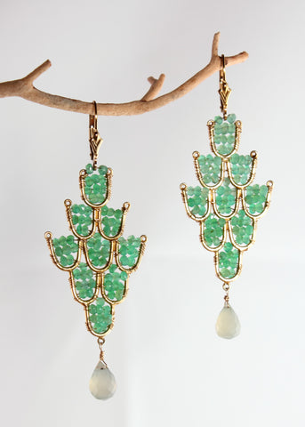 Chrysoprase Elegant Earrings