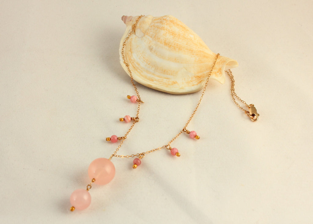 Elegant Rose Quartz and Rhodochrosite Necklace