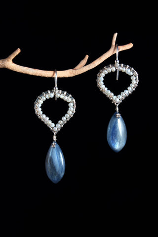 Kyanite and Fresh Water Pearl earrings