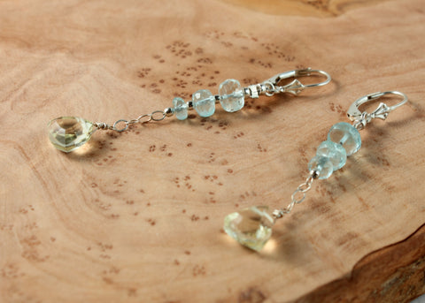 Aquamarine and Lemon Quartz Earrings