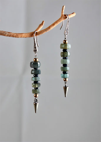 Moss Aquamarine and Sapphire Earrings