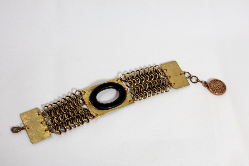 Chainmail Brass and Onyx Bracelet