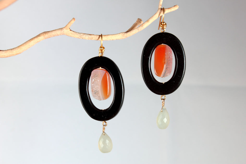 Onyx and Druzy Earrings
