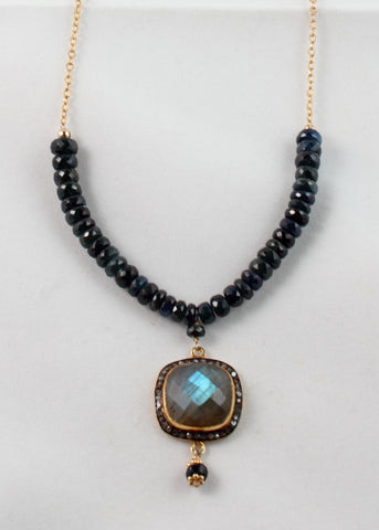 Sapphire, Labradorite, and Diamond Chip Necklace