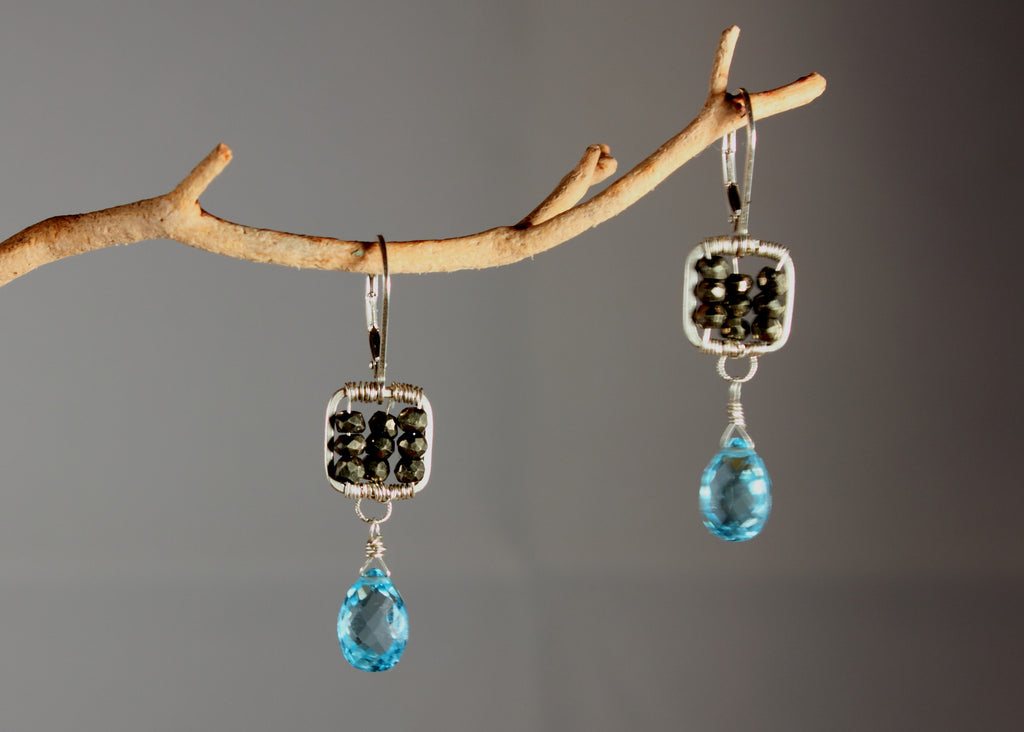 Pyrite Small Square Earrings with Topaz